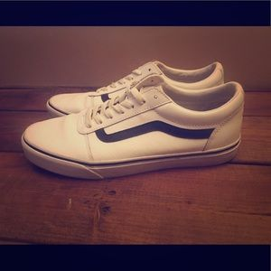 White Leather Vans 9.5